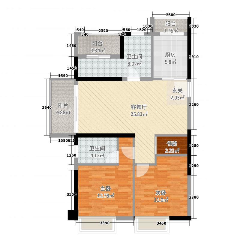 万达广场34115.20㎡C户型4室2厅2卫1厨