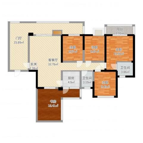 印象戛纳二期青云上5室2厅2卫1厨166.00㎡户型图