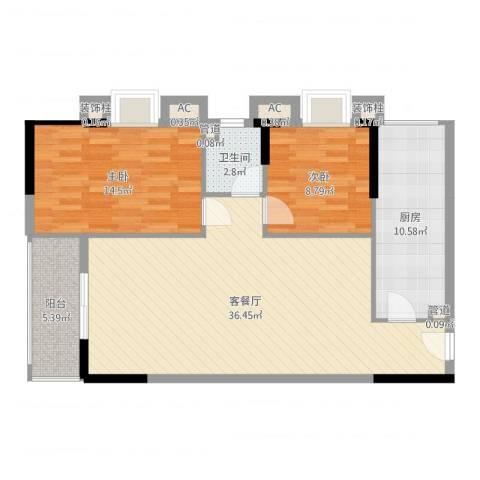 长银东郡2室2厅1卫1厨100.00㎡户型图