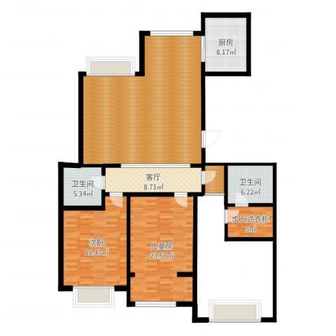 颐和庄园三期2室1厅2卫1厨154.00㎡户型图