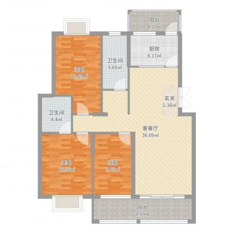 翠江锦苑3室2厅2卫1厨127.00㎡户型图