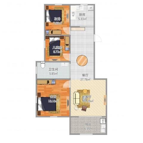 姚江上上城3室1厅1卫1厨91.00㎡户型图