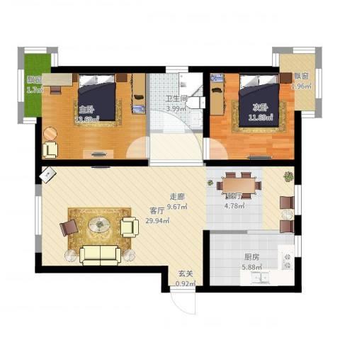 天房郦堂2室1厅1卫1厨84.00㎡户型图