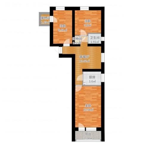 安苑东里3室2厅1卫1厨73.00㎡户型图