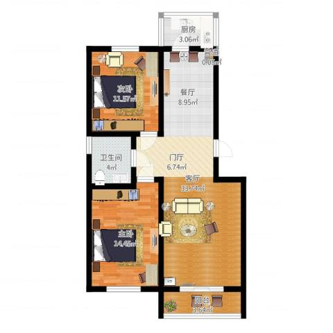 慢咖领地2室1厅1卫1厨88.00㎡户型图