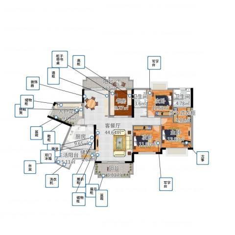 爱加西西里4室2厅2卫1厨202.00㎡户型图