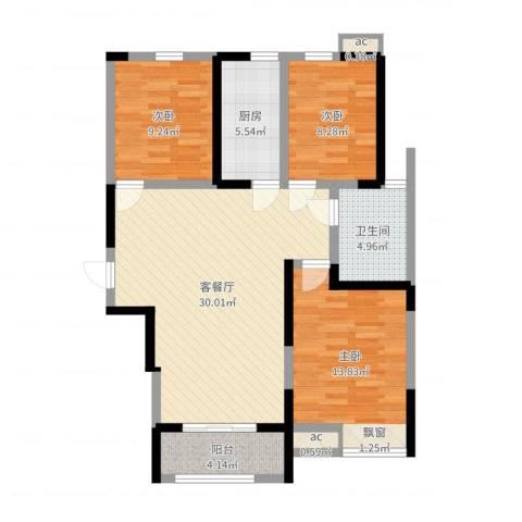 鸿泰嘉园三期3室2厅1卫1厨96.00㎡户型图