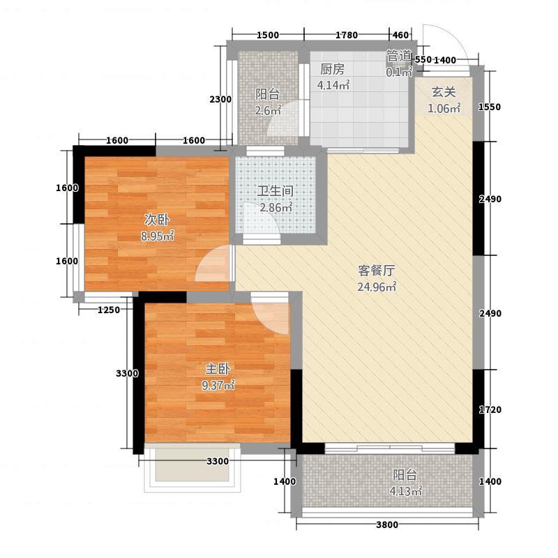 悦城375.12㎡单页B3-转曲-户型2室2厅1卫1厨