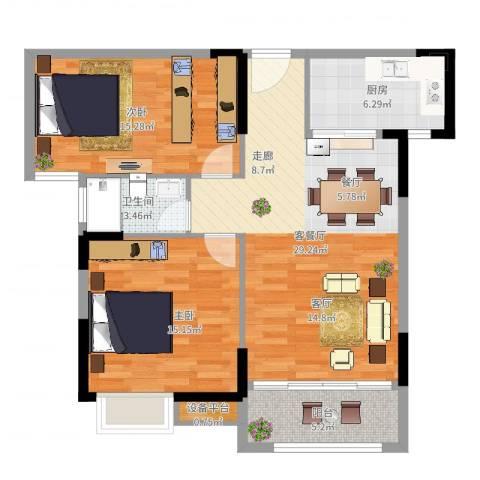 联发欣悦园2期2室2厅1卫1厨94.00㎡户型图
