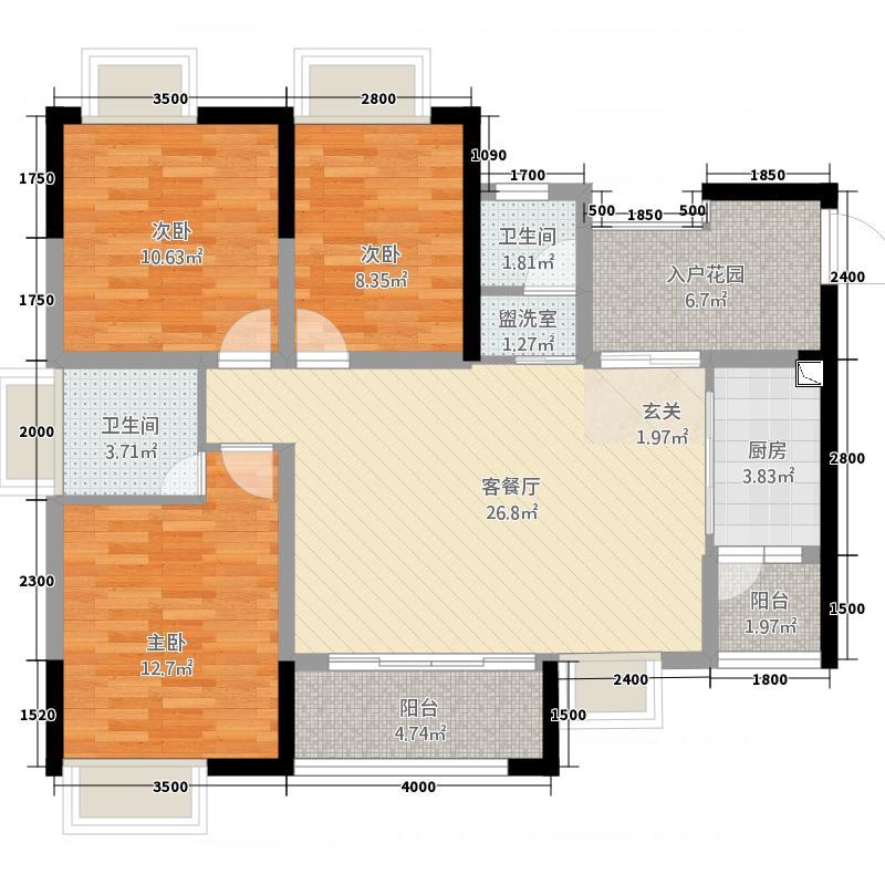 悦城21.82㎡单页A2-转曲-户型3室2厅2卫1厨