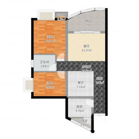 紫晶丽苑2室2厅1卫1厨84.00㎡户型图