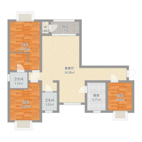 丽晶名邸3室2厅2卫1厨106.00㎡户型图