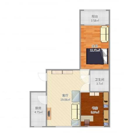 来北家园2室1厅1卫1厨65.00㎡户型图