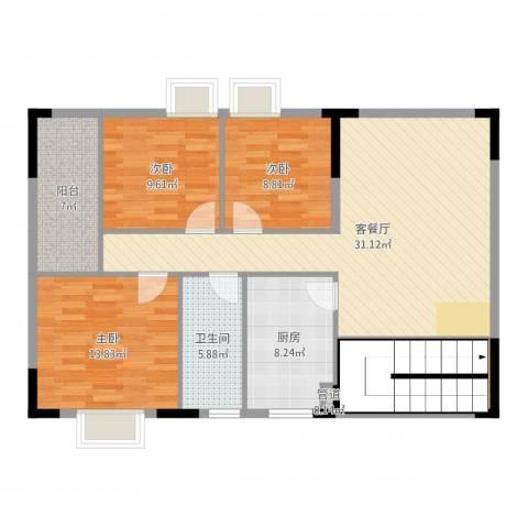 三正世纪新城3室2厅1卫1厨115.00㎡户型图