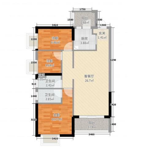 佛山禅城智博丽海花园小区10座1304房3室2厅2卫1厨92.00㎡户型图