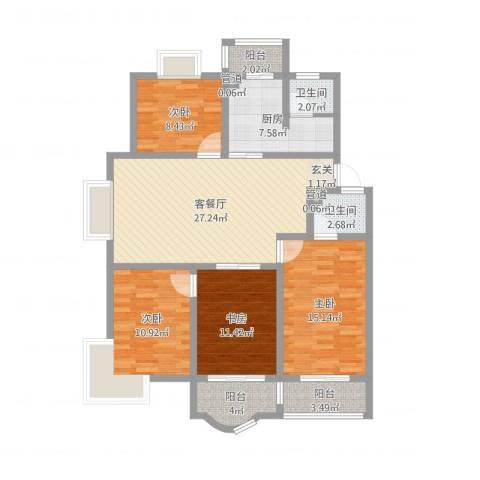 太湖花园三期4室2厅2卫1厨139.00㎡户型图