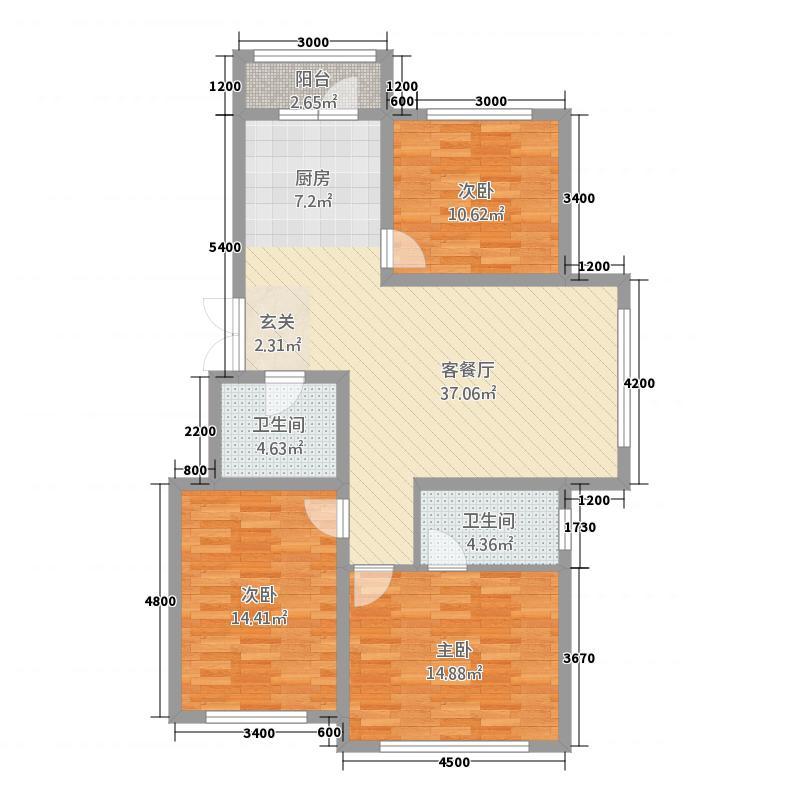 海拉尔山水颐园1115.82㎡C14号楼户型3室2厅2卫1厨