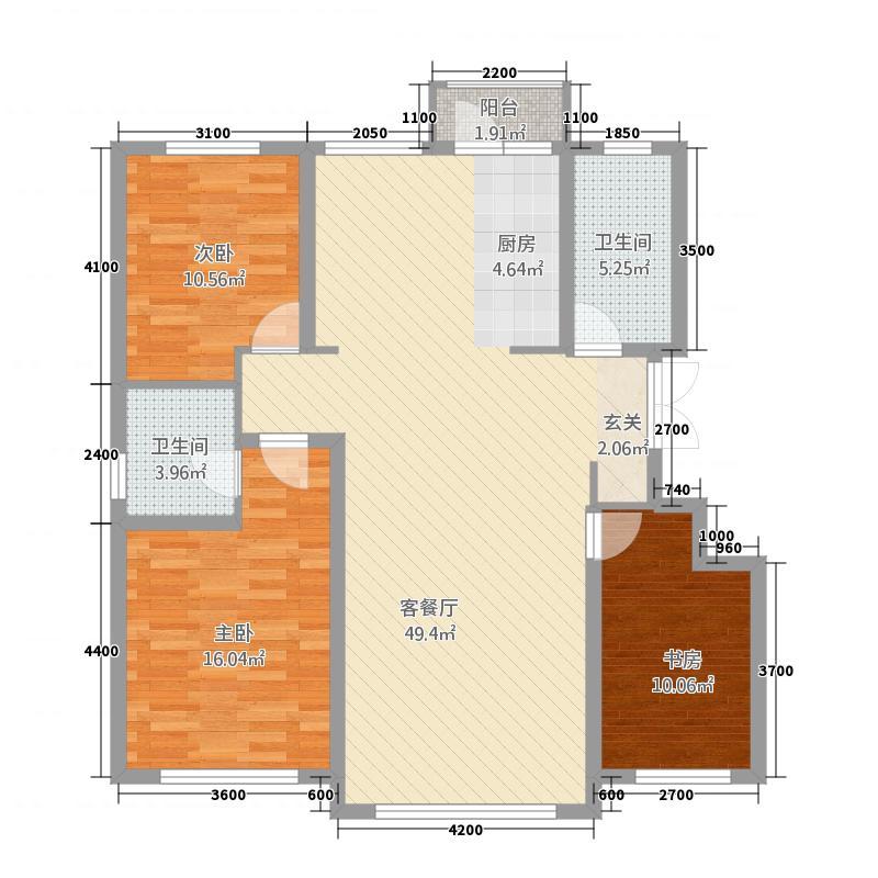 海拉尔山水颐园5125.18㎡A5户型3室2厅2卫1厨