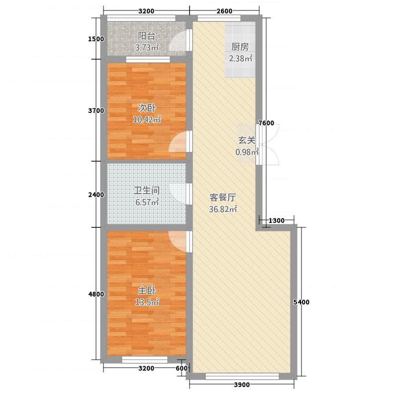海拉尔山水颐园21.82㎡C28/9号楼户型2室2厅1卫1厨