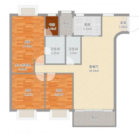 都汇豪庭4室2厅2卫1厨123.00㎡户型图