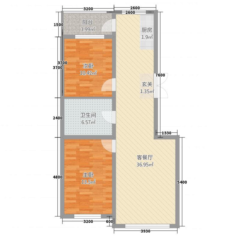 海拉尔山水颐园21.82㎡C24号楼户型2室2厅1卫1厨