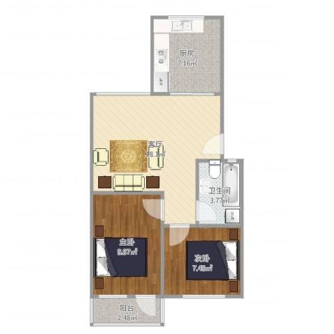 太平洋小区2室1厅1卫1厨61.00㎡户型图