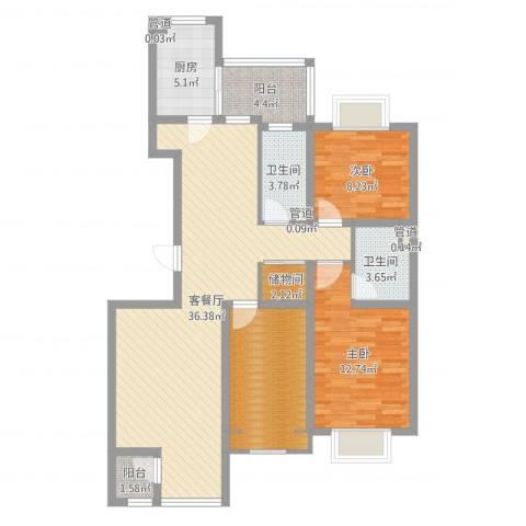 紫薇臻品2室2厅6卫1厨108.00㎡户型图