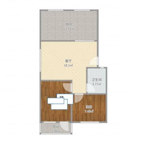 太平洋小区2室1厅1卫1厨69.00㎡户型图