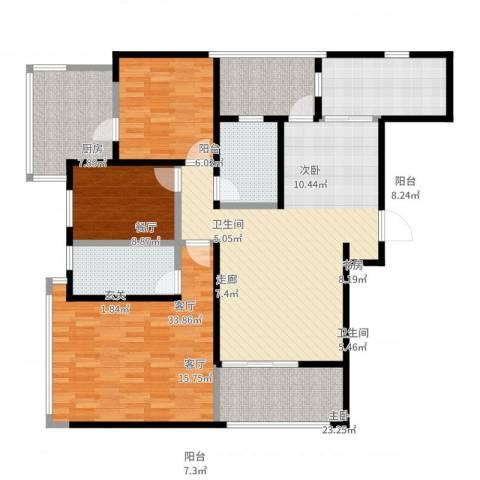 虹锦湾3室1厅2卫1厨145.00㎡户型图