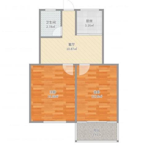 唱经楼小区2室1厅1卫1厨58.00㎡户型图