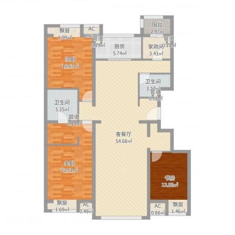 中粮万科紫云庭3室2厅2卫1厨128.21㎡户型图