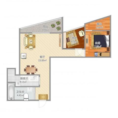 世纪城天鹅湖2室1厅1卫1厨65.00㎡户型图