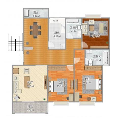 东湖丽岛3室1厅2卫1厨156.00㎡户型图