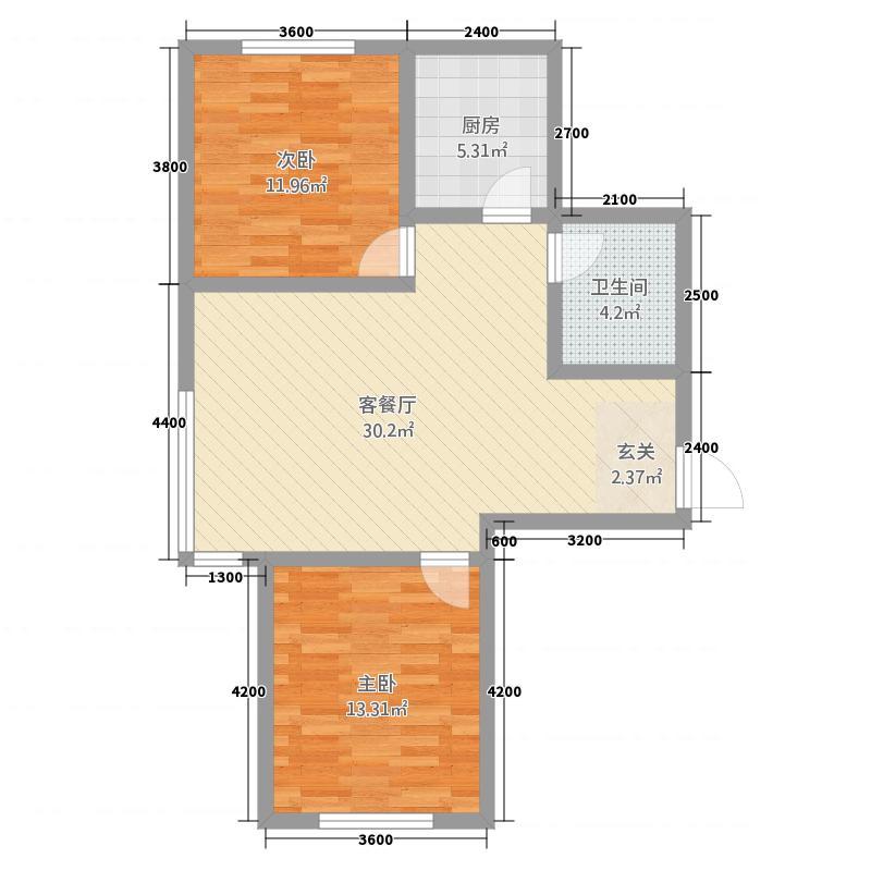 盛源・金水岸13.62㎡F1户型2室2厅1卫1厨