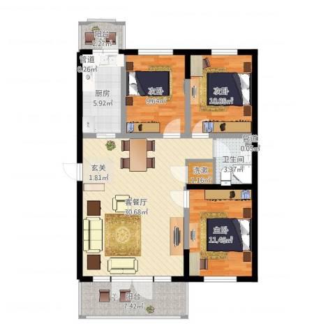 宏伟华轩3室2厅1卫1厨103.00㎡户型图