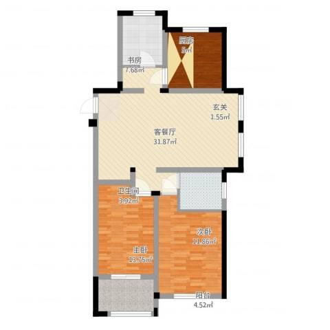 聚怡花园幸福小城3室2厅1卫1厨98.00㎡户型图
