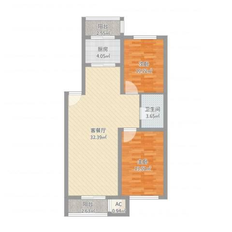 后林新村2室2厅1卫1厨87.00㎡户型图