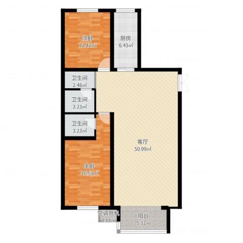 天鸿美域2室1厅3卫1厨120.00㎡户型图