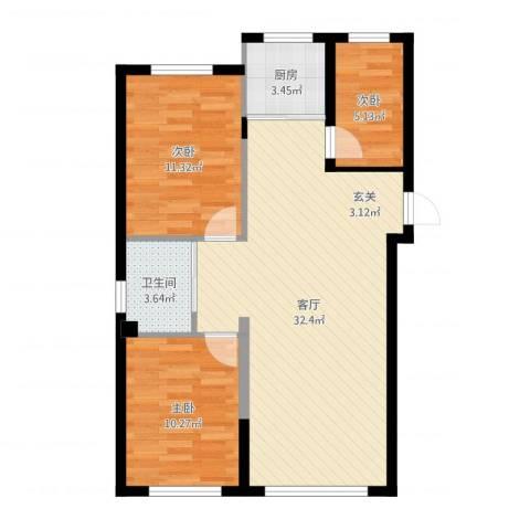 金湾山城3室1厅1卫1厨83.00㎡户型图