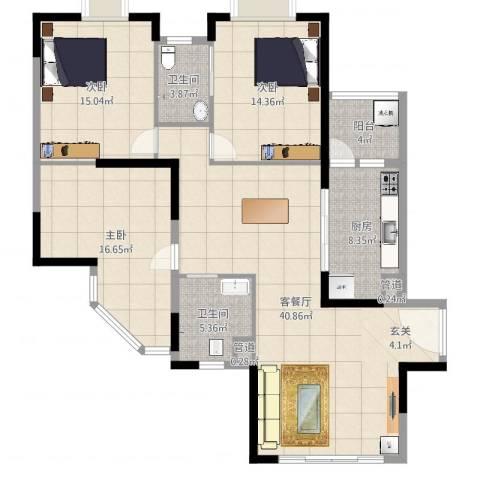东方国际星座3室2厅2卫1厨136.00㎡户型图