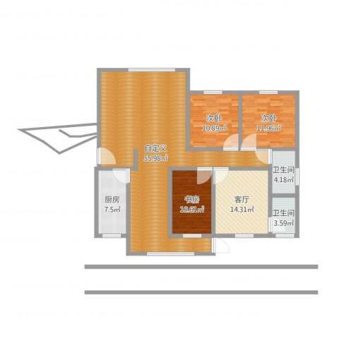东岭桂园3室1厅2卫1厨149.00㎡户型图