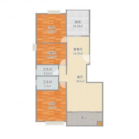 御江澳园3室1厅2卫1厨140.00㎡户型图