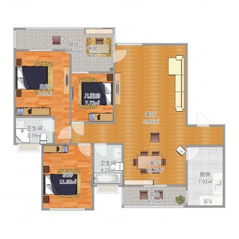 明诚景怡苑3室1厅2卫1厨135.00㎡户型图