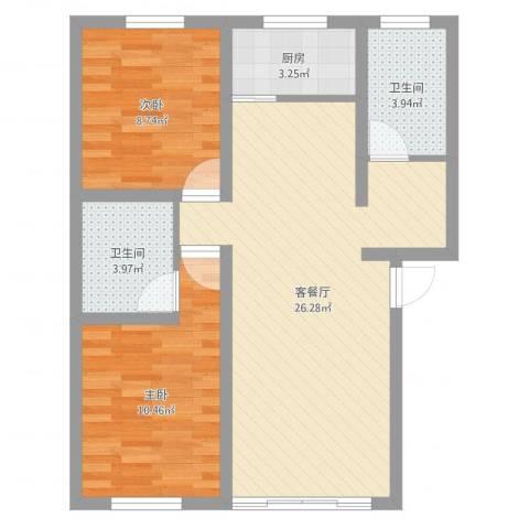 翠湖新村2室2厅2卫1厨71.00㎡户型图