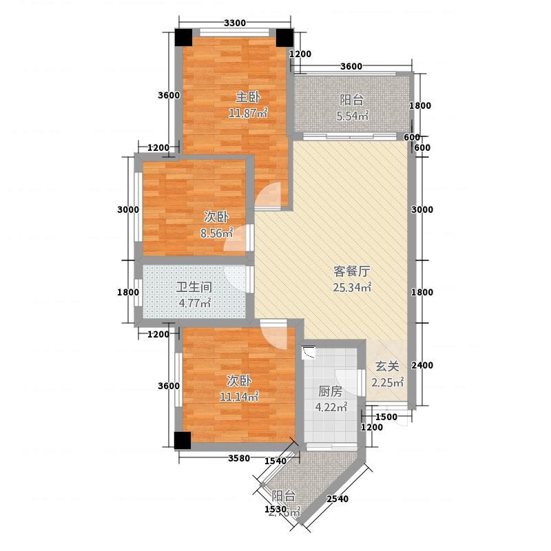 云辰国际13218.20㎡户型3室2厅1卫1厨