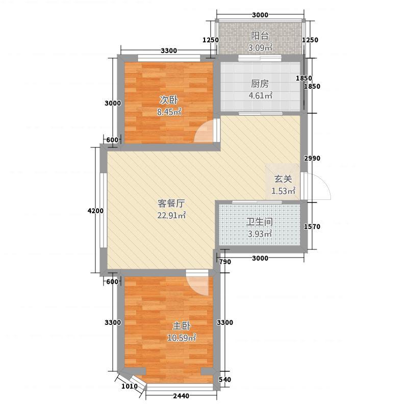 东奥・水木清华71.12㎡户型2室2厅1卫1厨