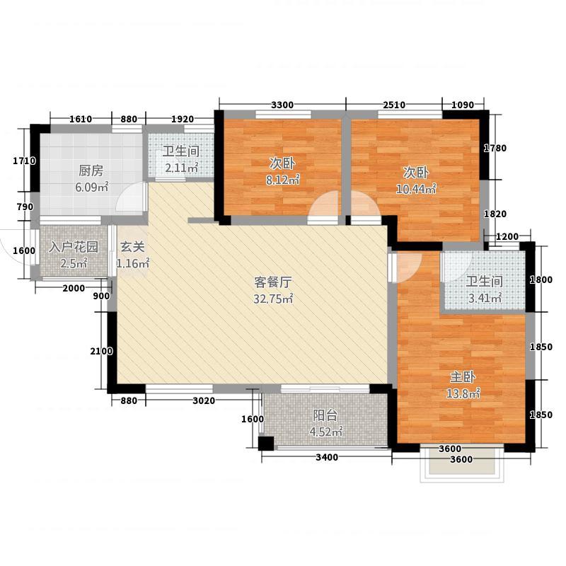 物华天宝3311.20㎡B3户型3室2厅2卫1厨