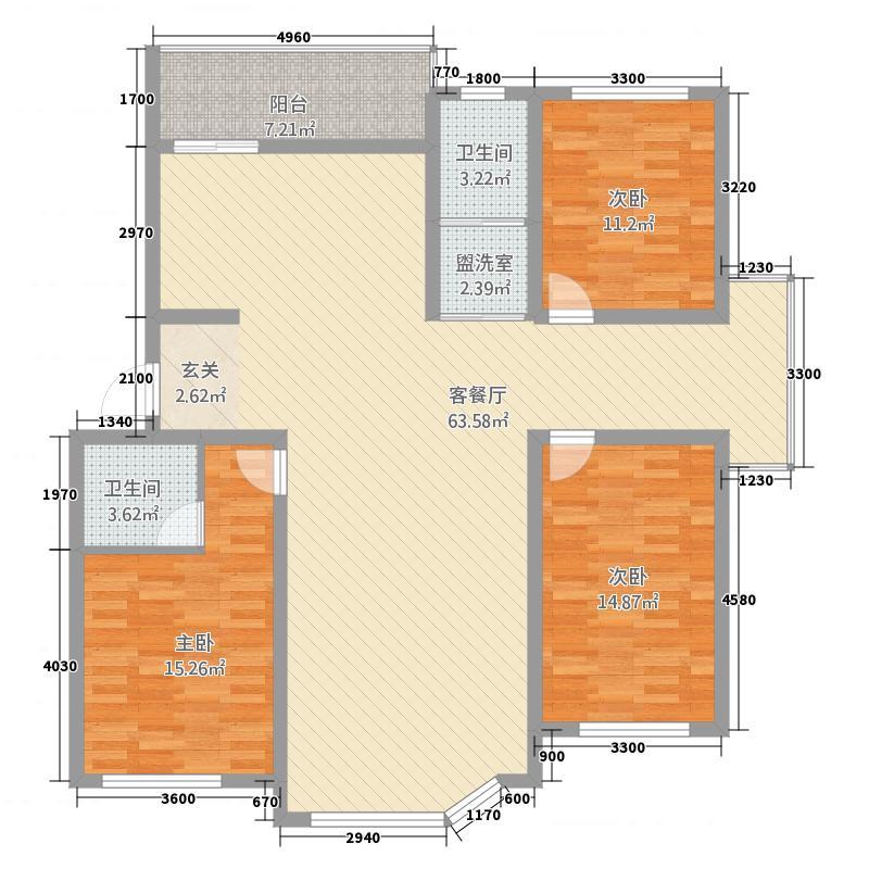 东奥・水木清华14.83㎡户型3室2厅2卫1厨