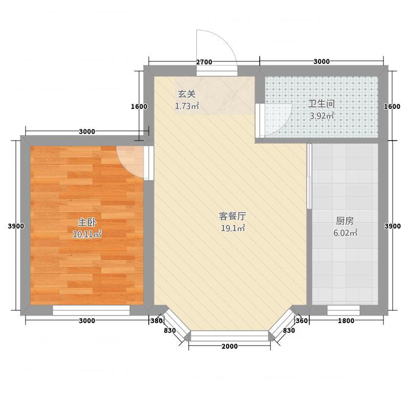 东奥・水木清华54.21㎡户型1室1厅1卫1厨