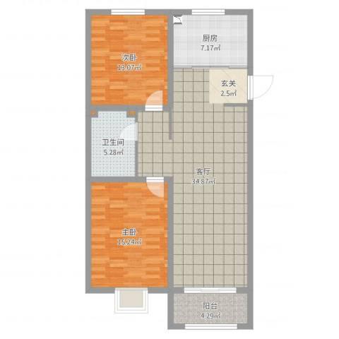 中达・名门世家2室1厅1卫1厨100.00㎡户型图